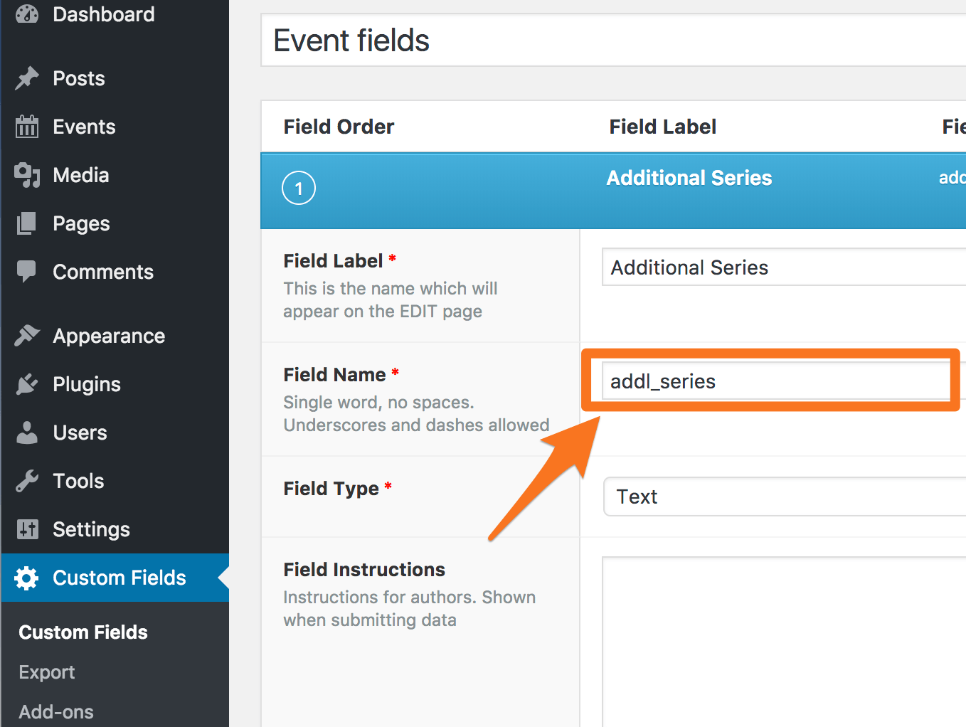 Finding the Field name from Advanced Custom Fields