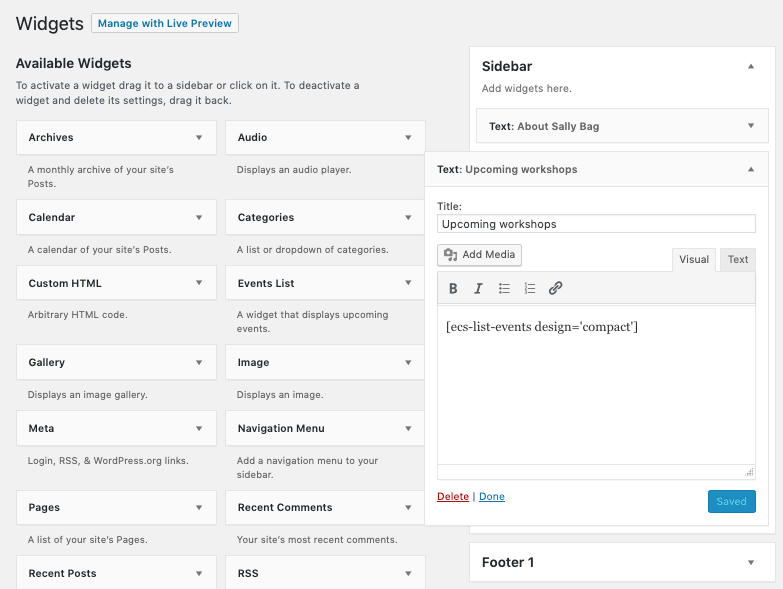 screenshot of a widgets design section