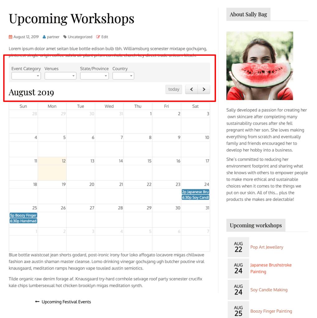 screenshot of workshops on the August calendar