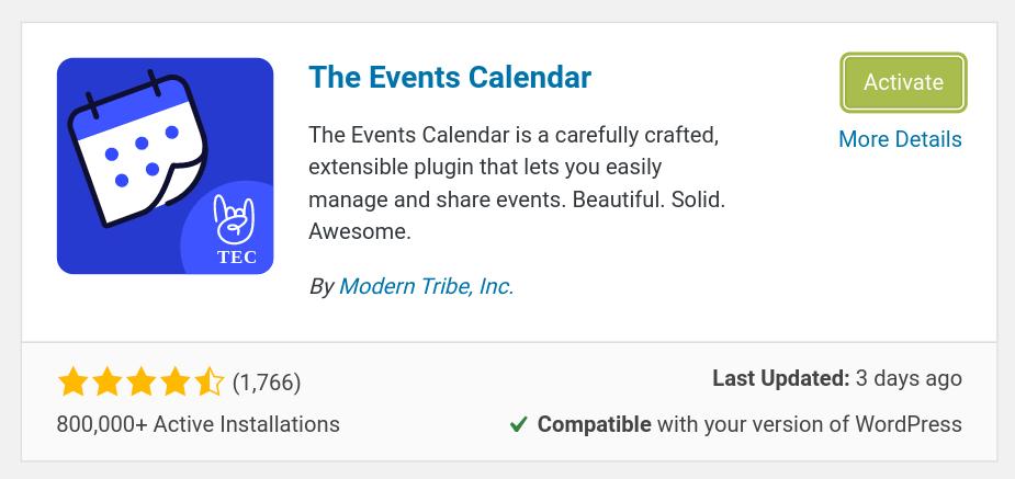 the events calendar plugin install