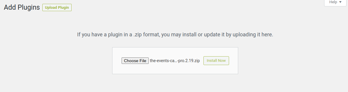 upload events calendar shortcode and block