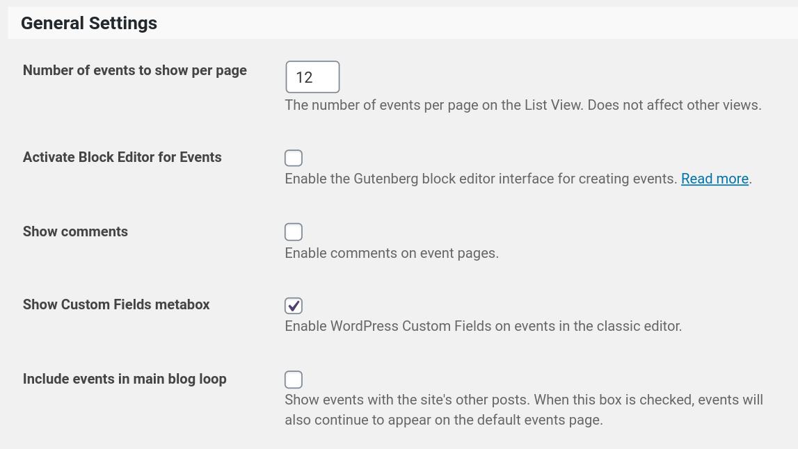 configure general events calendar settings