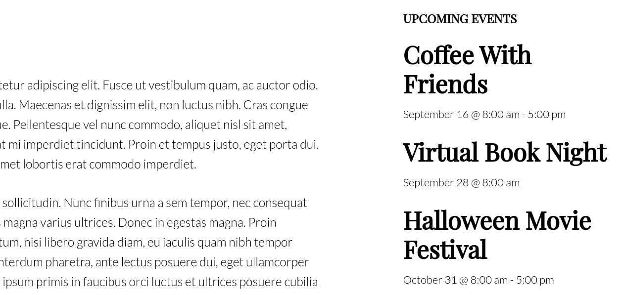 single column events view widget